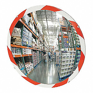 Circular Indoor Convex Mirror, 160° Viewing Angle, 35 ft. Approx. Viewing Distance