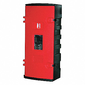 Fire Extinguisher Cabinet, 30 lb., Blk/Red