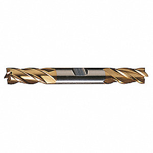 "Square End Mill, 3/8"" Milling Diameter, Number of Flutes: 4, 3/4"" Length of Cut, TiN, HDC4CTN"