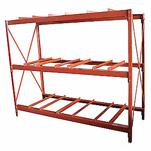 "Drum Rack, 70""H x 85-1/2""W x 34-1/4""D, (9) 55 gal. Drum Rack Capacity, Red"