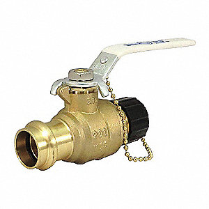 "Lead-Free Brass Press x Hose Cap Ball Valve, Lever, 3/4"" Pipe Size"