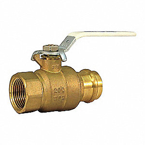"Brass Press x NPT Ball Valve, Lever, 1-1/4"" Pipe Size"
