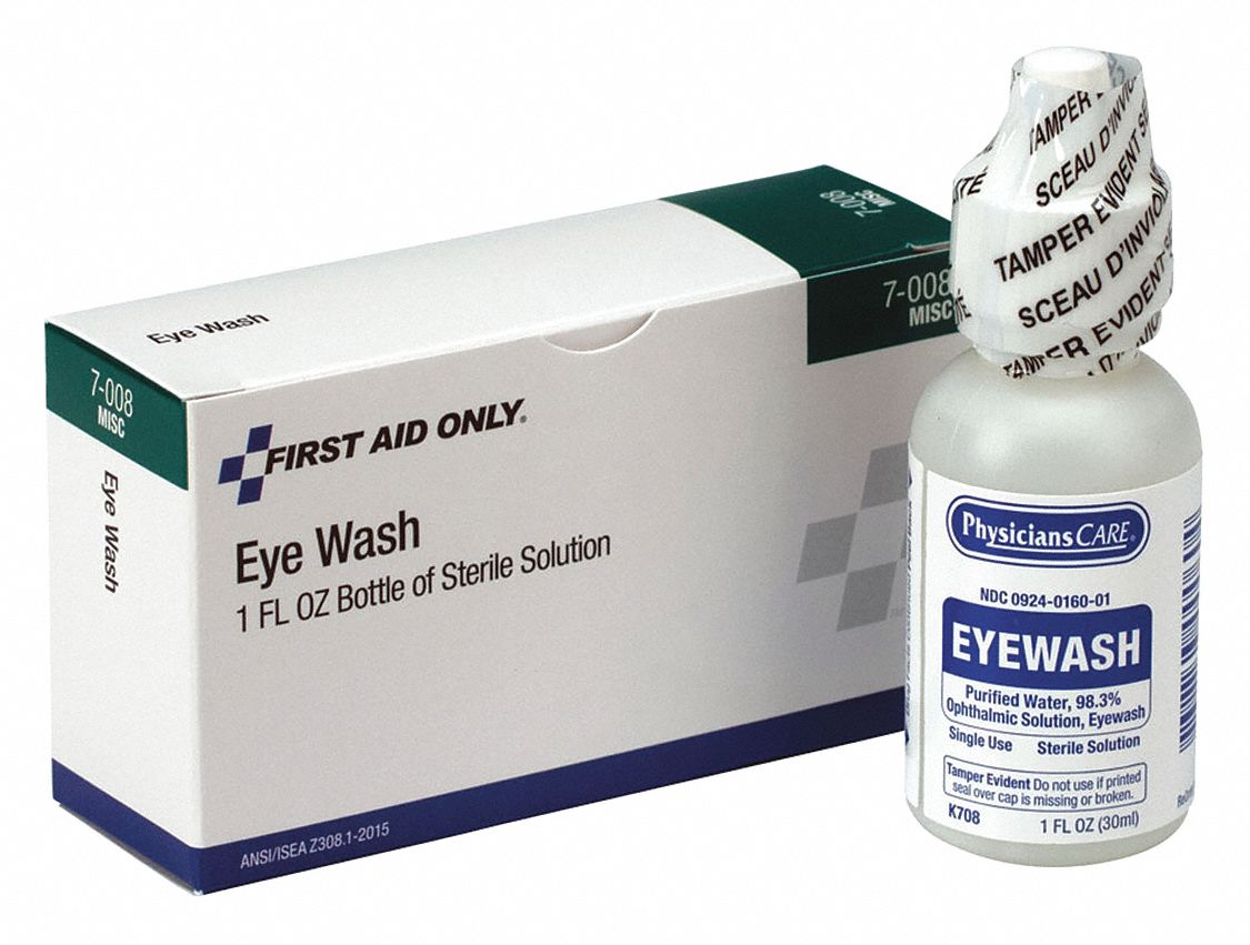 1 oz Personal Eye Wash Bottle, For Use With First Aid Kits or Toolboxes