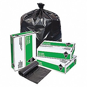 60 gal. Black Recycled Trash Bag, Super Heavy Strength Rating, Coreless Roll, 100 PK