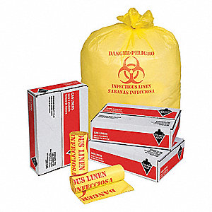 44 gal. Yellow Hospital Isolation Bags, Heavy Strength Rating, Coreless Roll, 200 PK
