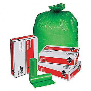 33 gal. Green Hospital Isolation Bags, Super Heavy Strength Rating, Coreless Roll, 100 PK