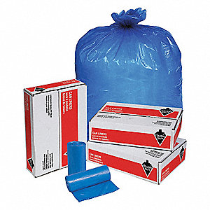 40 to 45 gal. Blue Hospital Isolation Bags, Super Heavy Strength Rating, Coreless Roll, 100 PK