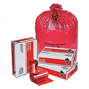 44 gal. Red Hospital Isolation Bags, Contractor Strength Rating, Coreless Roll, 25 PK