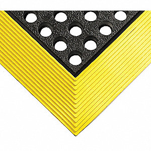 "Drainage Mat, 5 ft. L, 3 ft. W, 5/8"" Thick, Rectangle, Black with Yellow Border"