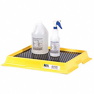 Spill Tray,Black/Yellow,2.5 gal.,HDPE