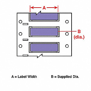 "2-7/16""H x 2""W Violet Brady B-342 Heat Shrink Polyolefin Double-Sided Print Wire Marking Sleeves"
