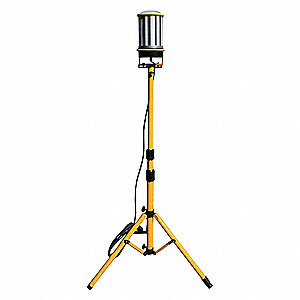 120W LED Tripod Temporary Job Site Light, Yellow/Silver, 13,000 Lumens