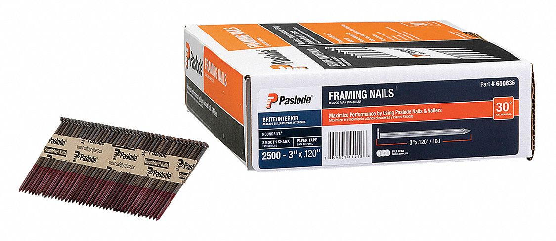 Framing Nails,  Roofing, Siding and Framing Nails,  11 ga Gauge,  3 in Length,  Low Carbon Steel