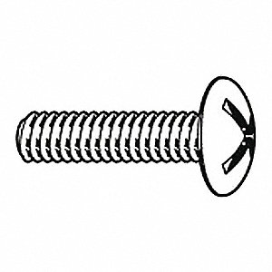"#10-24 Machine Screw, Low Carbon Steel, 1/2"" L, 100 PK"