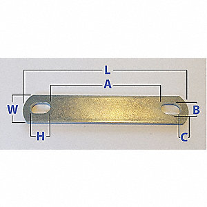 "Low Carbon Steel U-Bolt Plate with Zinc Plated Finish, Overall Length: 1-27/32"", 10PK"