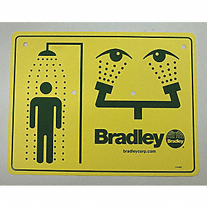 Combination Sign, Plastic, For Use With Bradley Safety Showers