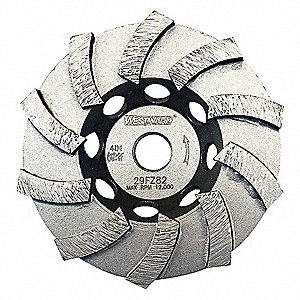 SEGMENT CUP GRINDING WHL,SPIRAL,4IN