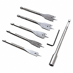 STUBBY FLAT WOOD BIT SET, 6 PC.