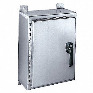 "24""H x 24""W x 8""D Metallic Enclosure, Stainless Steel, Knockouts: No, Keyed Handle Closure Method"