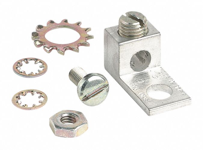 Tin-Plated Aluminum Grounding Lug Kit, Ground Wire Included: No