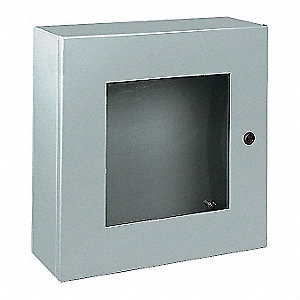 "20""H x 20""W x 8""D Metallic Enclosure, Gray, Knockouts: No, 1/4 Turn Latch Closure Method"