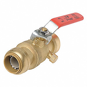 "Lead-Free DZR Brass FNPT x Push Ball Valve, Lever, 3/4"" Pipe Size"