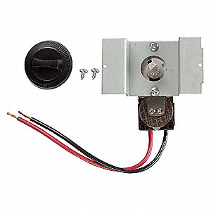 Single Pole Thermostat, Mounted, Black, 25A
