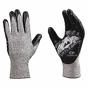 Nitrile Cut Resistant Gloves, ANSI/ISEA Cut Level 4 Lining, Black, Silver, XL, PR 1