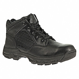 "4""H Men's Tactical Boots, Plain Toe Type, Leather/Nylon Upper Material, Black, Size 9"
