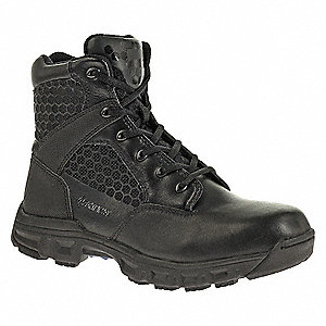 "6""H Men's Tactical Boots, Plain Toe Type, Leather / Nylon Upper Material, Black, Size 14"