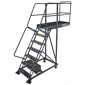 "Unsupported 7-Step Cantilever Rolling Ladder, Perforated Step Tread, 112"" Overall Height"