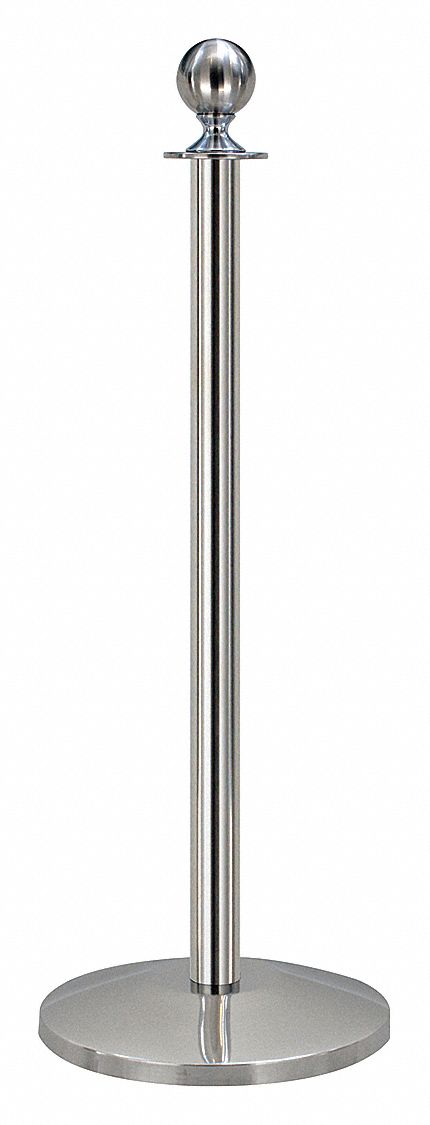 Ball Top Rope Post, Polished Stainless Steel, Polished Stainless Steel Post Finish, 39 in Height