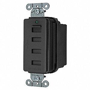 USB CHRGR 4PORT 5AMP 5 VOLT BK