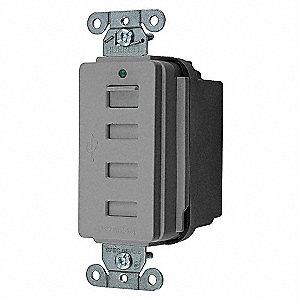 USB CHRGR 4PORT 5AMP 5 VOLT GY
