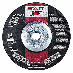 "4-1/2"" Type 27 Aluminum Oxide Depressed Center Wheels, 5/8""-11 Arbor, 0.045""-Thick, 13,300 Max. RPM"
