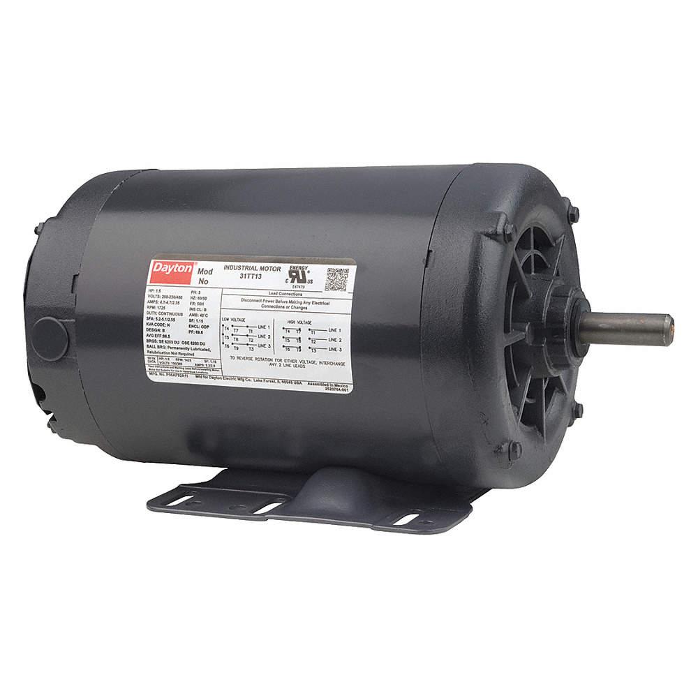 3/4 HP General Purpose Motor,3-Phase,1140 Nameplate RPM,Voltage 230/460,Frame Dayton Motor Wiring Diagram K J on