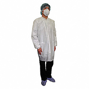 White Basic SMS Disposable Lab Coat, Size: XL