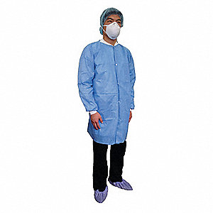 Disposable Lab Coat,Basic SMS,Blue,3XL