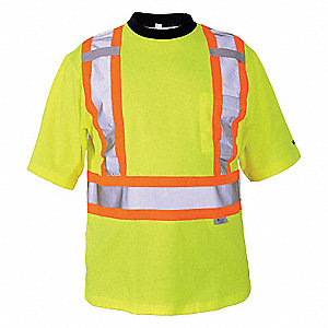 Green Polyester/Cotton High Visibility Short Sleeve Shirt, Size: XL, ANSI Class 2