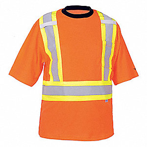 Orange Polyester/Cotton High Visibility Short Sleeve Shirt, Size: 2XL, ANSI Class 2