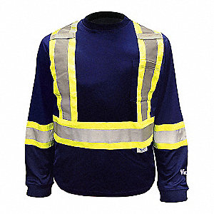 Navy Polyester/Cotton High Visibility Long Sleeve Shirt, Size: S, ANSI Class 1