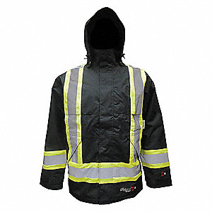 Flame Resistant Rain Jacket, PPE Category: 0, High Visibility: Yes, Polyester, Polyurethane, 2XL, Bl