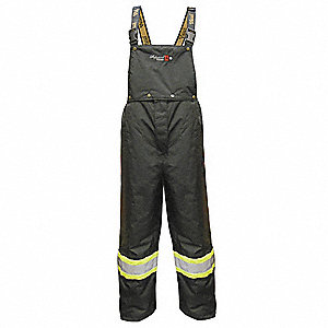 Flame Resistant Rain Bib Overall, PPE Category: 0, High Visibility: No, Polyester, 3XL, Black