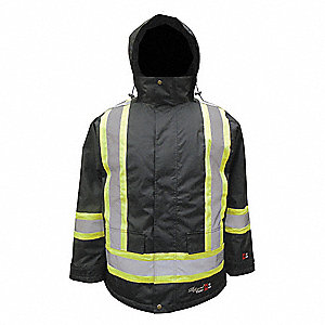 Flame Resistant Rain Jacket, PPE Category: 0, High Visibility: Yes, Polyester, Polyurethane, L, Blac