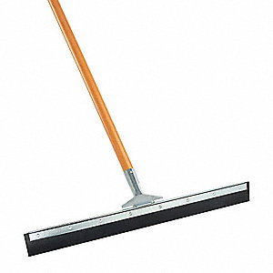 "24""W Straight Rubber Floor Squeegee With Handle, Black"