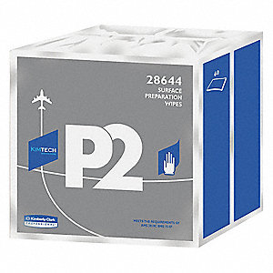 "Cellulose/Polyester Aviation Cleaning Wipes, 60 Ct. 12"" x 11-13/16"" Sheets, White"