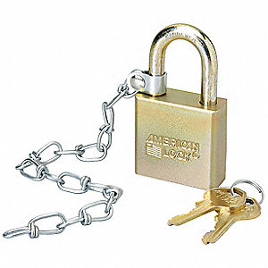 "Different-Keyed Padlock, Open Shackle Type, 1-1/8"" Shackle Height, Silver"