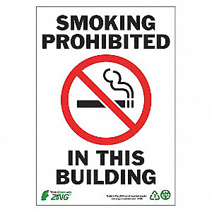 SIGN SMOKING PROHIBITED 10X7 AL