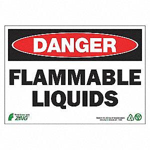 SIGN DANGER FLAMMABL LIQUID 7X10 AL