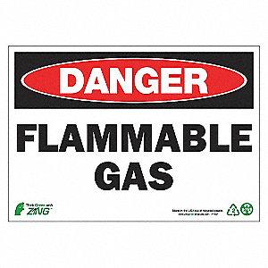 SIGN DANGER FLAMMABLE GAS 7X10 AL
